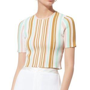 {Ronny Kobo} Multicolor Striped Crop Top sz s